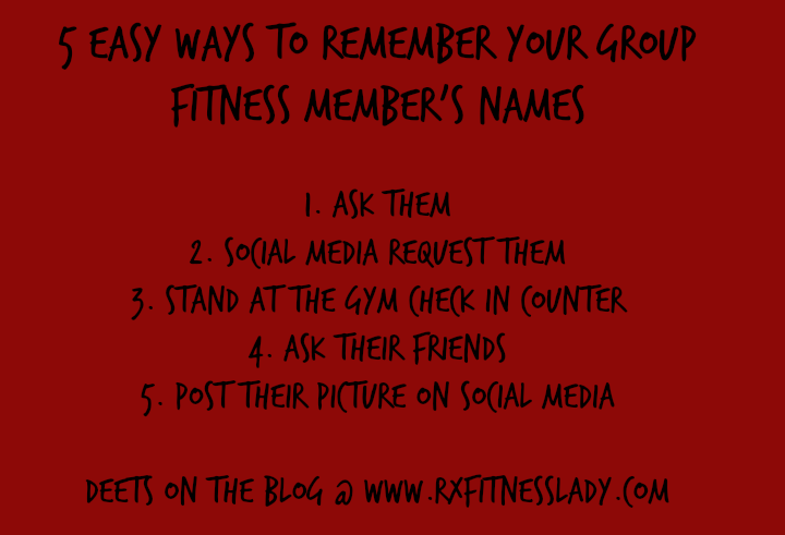 5 Easy Ways To Remember Your Group Fitness Member's Names Tip Card