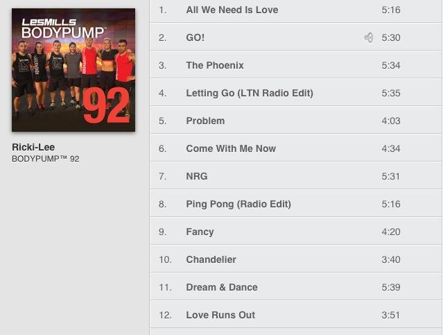 Les Mills BODYPUMP 92 Track List