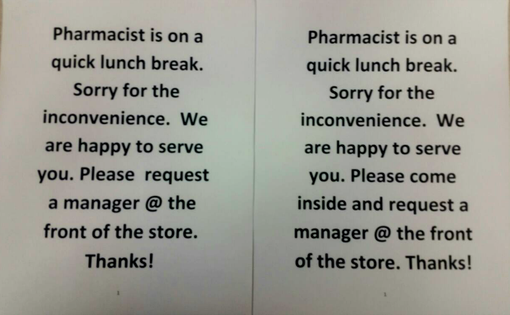 Pharmacist Lunch Break Signs